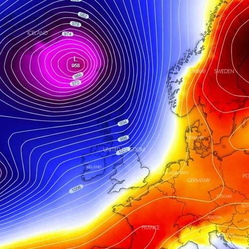 Επικίνδυνες Εξωτροπικές καταιγίδες κατευθυνόνται με ταχύτητες τυφώνα στην Βόρεια Ευρώπη από απόψε το βράδυ μέχρι την Πέμπτη.