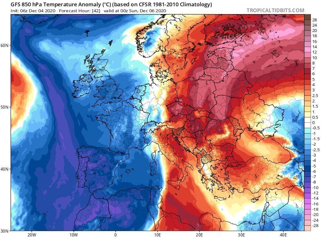 Σημαντική κακοκαιρία στη δυτική Ευρώπη με μεγάλη πτώση της θερμοκρασίας και αλλεπάλληλα βροχοφόρα συστήματα στη Μεσόγειο!