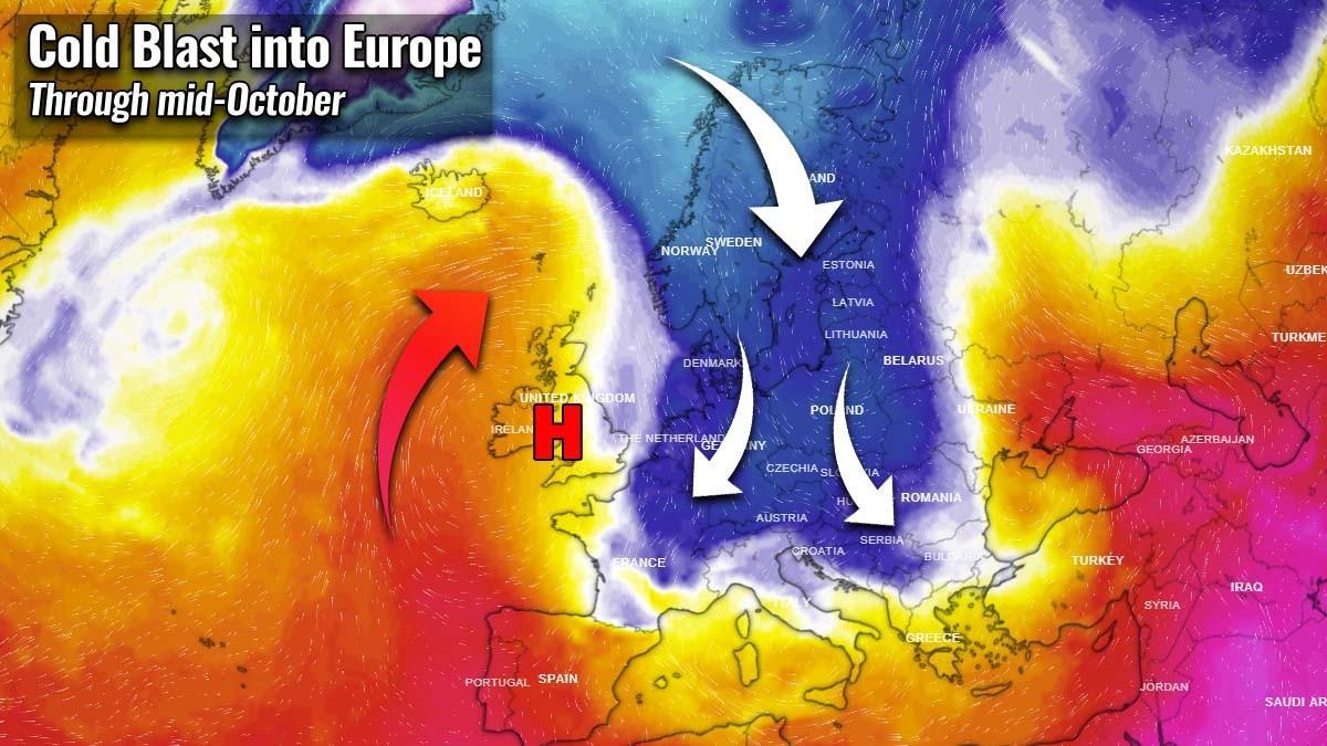 Μία σημαντική ψυχρή εισβολή απ 'άκρη σ' άκρη στην Ευρώπη στα μέσα του Οκτωβρίου - Μεγάλες ποσότητες χιονιού στα ορεινά ,και όχι μόνο, της Σκανδιναβίας.